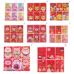 6Pcs cute Chinese new year red packet red envelope 2019 year of the pig lucHK