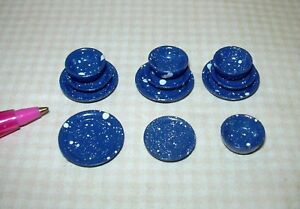 Miniature Dollhouse Blue Splatterware Plates-Bowls//12Pc