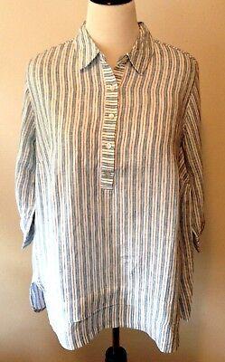 NWT J Jill Love Linen Sz 2X Linen 3//4 Sleeve Relaxed Tunic White $99