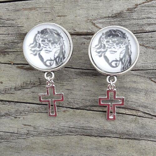 Pair Of Religious JESUS Spiritual GOD  EAR GAUGES PLUGS Earrings Tunnels