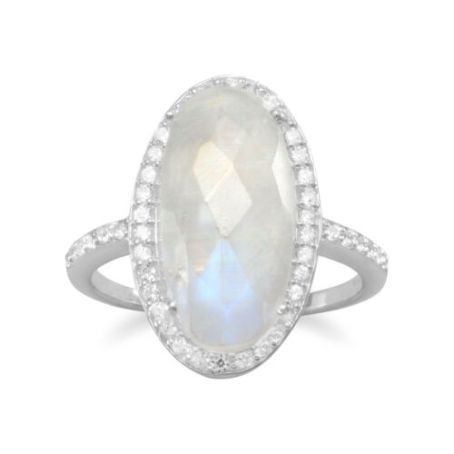 BEAUTIFUL STERLING SILVER CUBIC ZIRCONIA CRYSTAL FRAMED MOONSTONE RING 5-10