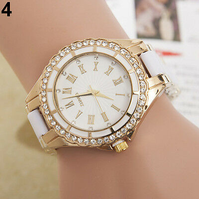 Fashion Women's Quartz Watch Roman Numerals Analog Rhinestone Golden Alloy Case