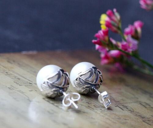 B06 Ohrring Stecker Art Deco Stil weiße Süßwasser Perle Sterling Silber 925