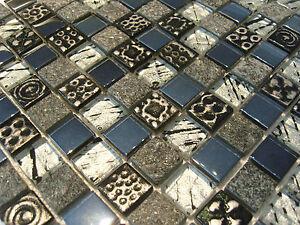 Glasmosaik Mosaik Fliesen Perlmutt Ornament Schwarz Silber Grau
