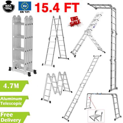 10.5//12.5//16.5FT Multipurpose Aluminum Ladder Fold Extend Telescopic Garden Tool