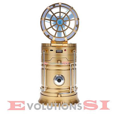 LAMPARA LINTERNA LED VENTILADOR CARGADOR MOVIL USB SOLAR CAMPING PESCA OUTDOOR