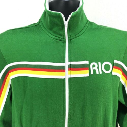Womans Guess Jeans Patch pelle taglia Jacket M Brazil verde 81 Vintage Track Rio in wEdUqw