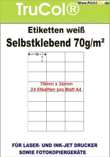 ETIKETTEN 70 x 36 MM AUF A4 BOGEN SELBSTKLEBEND BESTE 70 g//qm QUALITÄT