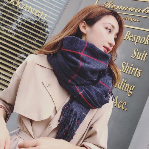 Womens Ladies Winter Warm Pashmina Lattice Cashmere Solid Long Shawl Wrap Scarf