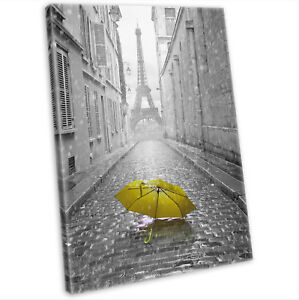 e6eb229f1 Image is loading Eiffel-Tower-Paris-amp-Yellow-Umbrella-Canvas-Print-