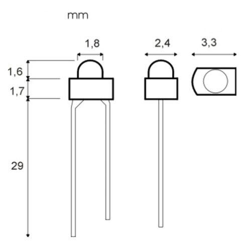 S514 SET 50 Stück LEDs 1,8mm WEIß BLAU ROT GELB GRÜN Sortiment