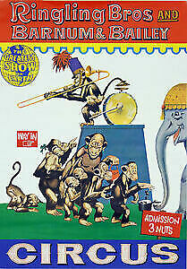 Vintage Circus Carnival Poster Performing Monkeys Art Print Picture A3 A4