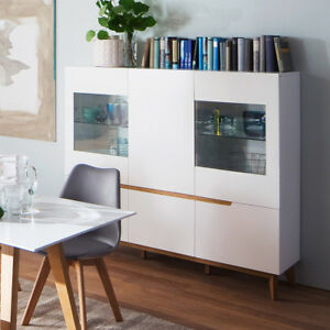 highboard cervo vitrine schrank hochschrank wohnzimmer wei matt lack asteiche ebay. Black Bedroom Furniture Sets. Home Design Ideas