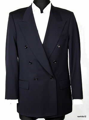 HUGO BOSS VTG DOUBLE BREASTED NAVY BLUE WOOL BLAZER JACKET SIZE EU 48 (USA 38R)