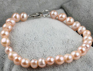 Details About Fashion Women S 9 10mm Natural Pink Freshwater Pearl Stretch Bracelet 7 5 Aaa