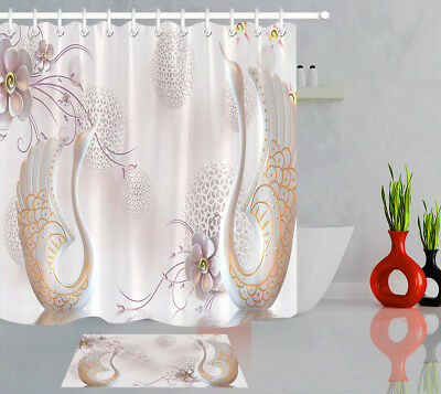 Swans Flowers Geometric Patterns Fabric Shower Curtain Waterproof Bathroom Set