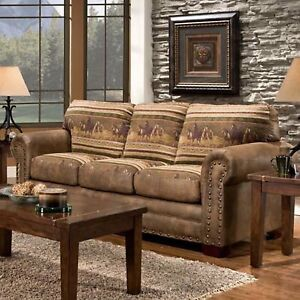 Details about American Furniture Classics 8503-40 Rustic Leather Look, Wild  Horses Sofa New