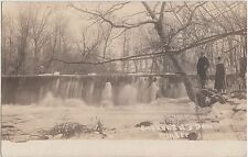 Ohio Postcard1910 CUYKENDAL'S DAM Winter Frozen Men PLYMOUTH Real Photo RPPC