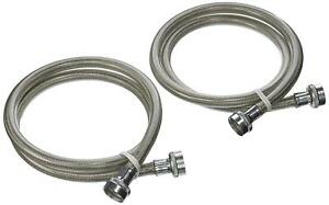 2pk 4' Stainless Steel Washing Machine Braided Fill Hoses Hot Cold OEM Universal