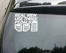 REAL MEN USE 3 PEDALS FUNNY CAR WINDOW BUMPER JDM DUB VAG VW VINYL DECAL STICKER