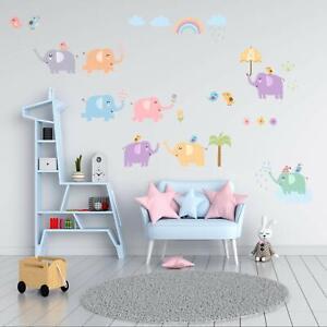 Wandtattoo Elefanten Kinderzimmer Wandaufkleber Wandsticker Baby Junge Kinder Ebay