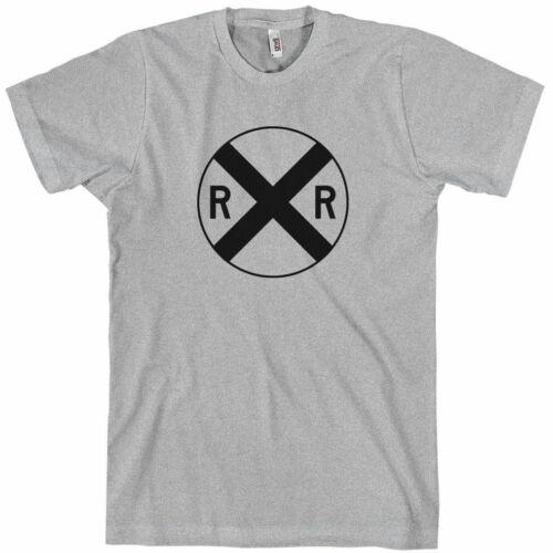 RR Train Railroad Crossing Sign T-shirt New XS-4XL