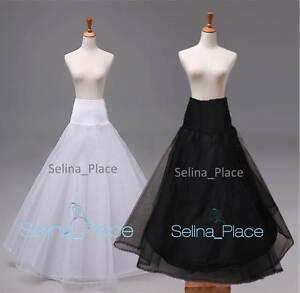 White-Black-A-Line-1-Hoop-Wedding-Dress-Bridal-Promo-Crinoline-Petticoat-Slips