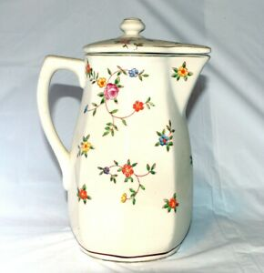 Antique-Hand-Painted-Floral-Porcelain-Chocolate-Pot-or-Teapot-Made-In-Japan