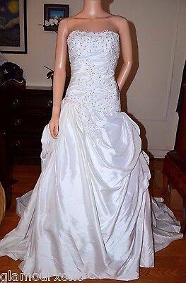 White Beaded Sequined Puffy Pick Ups Taffeta Wedding Gown Dress 2