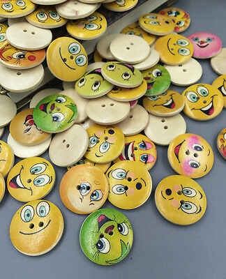 DIY 10-100pcs smiley faces Wooden Buttons Sewing Craft 2 Holes 25mm scrapbook