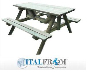 Tavolo da giardino in legno di pino impregnato con panche for Panche in legno da giardino