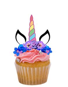 14 Unicornio comestibles Stand Up Pastel//Cupcake Toppers Premium Oblea Tarjeta Precortada//sin cortar
