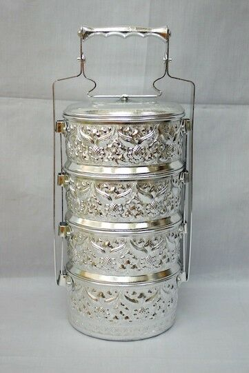 Bento,Lunch Box traditional engraved Thai style food Container Carrier Rare