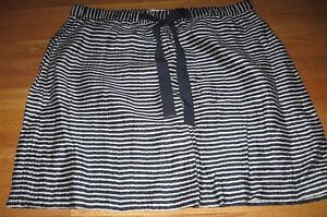 Ann-Taylor-LOFT-Skirt-PUll-On-LInen-Blue-gray-Stripe-Tie-Waist-Large-EUC