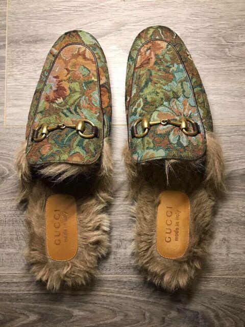 0f6522d49867 Gucci Men s Princetown Floral Brocade Fur Slipper - Gucci Size 8 (Kangaroo  Fur)