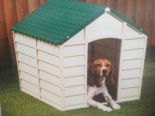 DOG KENNEL STRONG DURABLE PLASTIC FOR SMALL MEDIUM DOG IN + OUTDOOR GARDEN HOUSE
