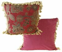 "LUXURY ROYAL RED GOLD TAPESTRY TASSELED CHENILLE THICK CUSHION COVER 18"" - 45CM"