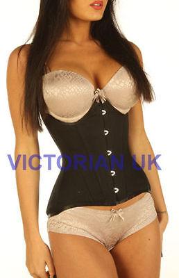 Waist belt Black cotton corset under bust Authentic DOUBLE STEEL BONED