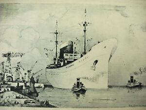 Gravure Vers 1930 Signée S A Dumarais Navire Vapeur Port De Commerce