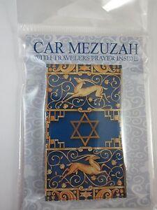 "Car Mezuzah 2.5"" Acrylic BLUE GAZELLE with Travelers Prayer Scroll"