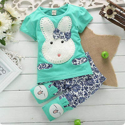 2PC New Baby Kids Top+Short Pants Set Clothes Cute Rabbit Size:1-4 Years