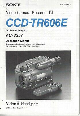 Sony Video Camera Recorder Ccd Tr606e Operation Manual Ebay