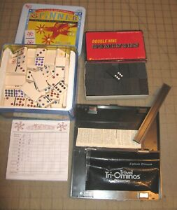 3 DOMINOES GAMES LOT - SPINNER (Puremco) - Travel Tri-ominoes - Double 9 in Box