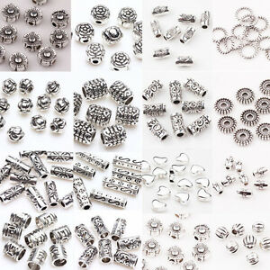 Lots-Style-50-100Pc-Antique-Tibetan-Silver-Loose-Spacer-Beads-Charm-Jewelry-DIY