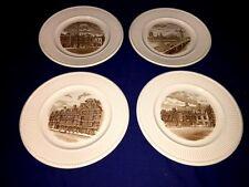 """4 WEDGWOOD Old London Views 10 1/2"""" Dinner Plates - Brown Transferware"""