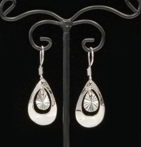 925 Sterling Silver Double Teardrop Ouvert Boucle d/'oreille Argent Femme Boucles d/'oreilles