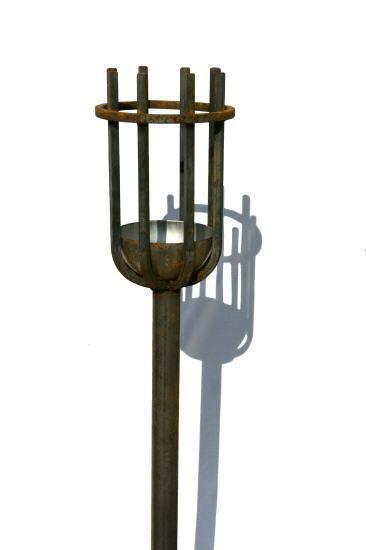 TORCIA da giardino ferro battuto altezza ca. 118 CM inclusa cera INSERTO