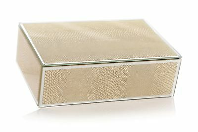 Gold Snakeskin Texture Effect Mirror Glass Jewellery Box 5029306789148 Ebay