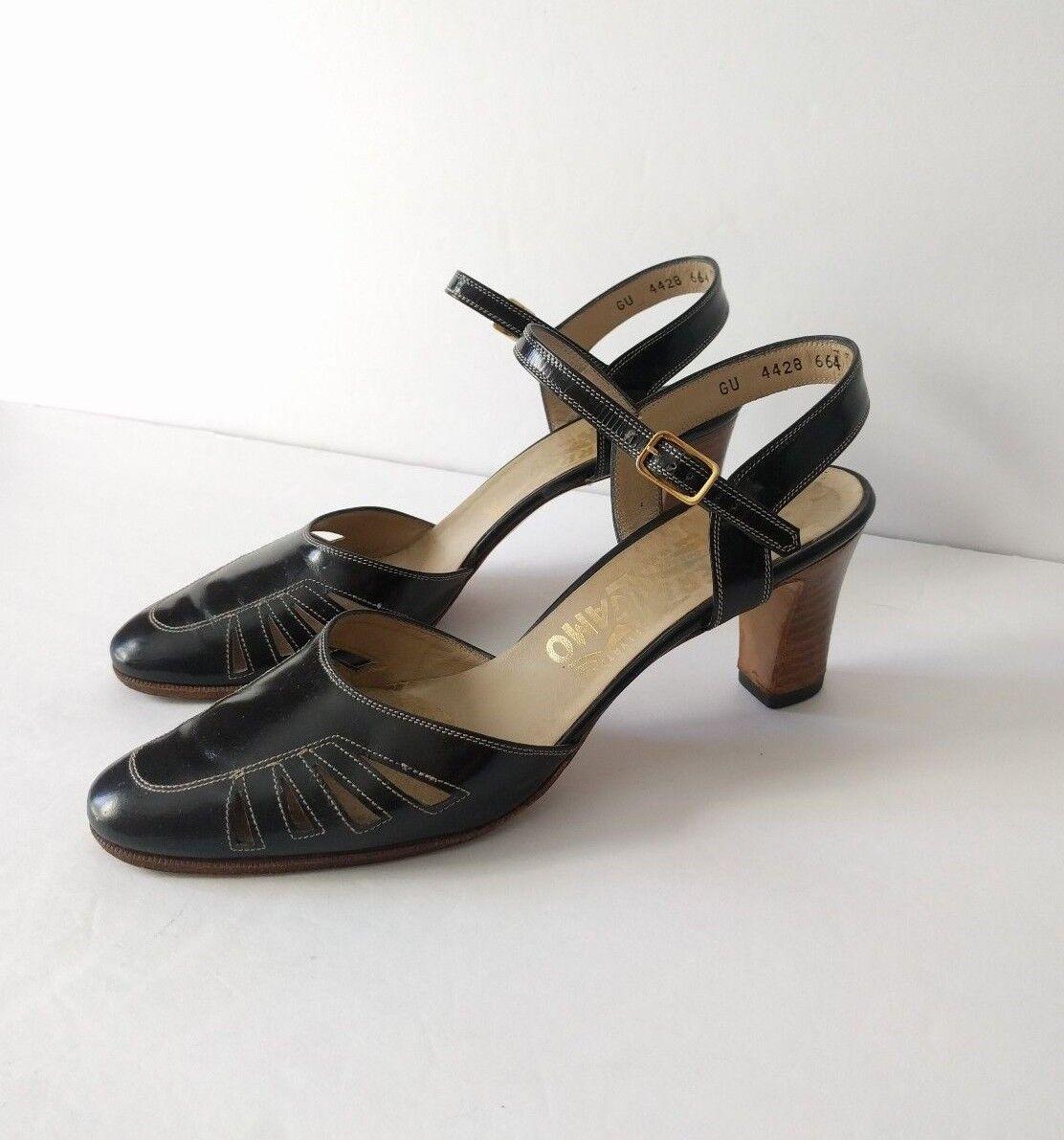 "Salvatore Ferragamo Women's 7 Black Leather Ankle Strap Heels Side Cut Out 2.5"""