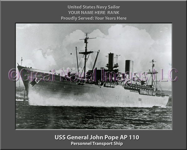 USS General John Pope AP 110 Personalized Canvas Ship Photo Print Navy Veteran